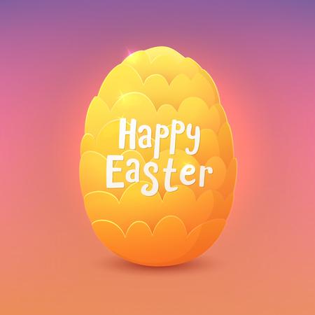 Happy Easter. Cartoon fantastic dragon egg. Greeting card. Vector illustration. Stock Illustratie