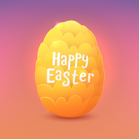 Happy Easter. Cartoon fantastic dragon egg. Greeting card. Vector illustration. Çizim