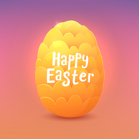 Fantastic dragon egg with Happy Easter wish vector greeting card.
