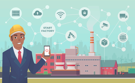 Smart factory. Dark skinned businessman with phone in his hand starts and manage huge plant with application.