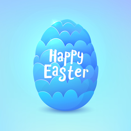 Turquoise dragon egg isolated on blue background.Happy easter card. Vector illustration