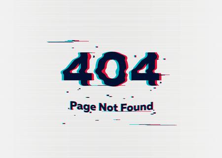 Erreur 404 - Page non trouvée. Erreur avec effet glitch à l'écran. Vector illustration pour votre conception