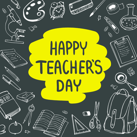 Poster for National Teachers Day. Greeting card. Vector illustration on chalkboard