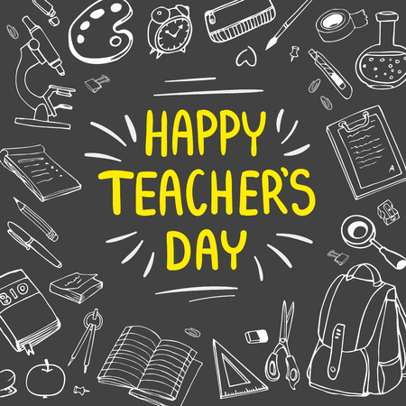 Poster for National Teachers Day. Greeting card. Vector illustration on blackboard Çizim