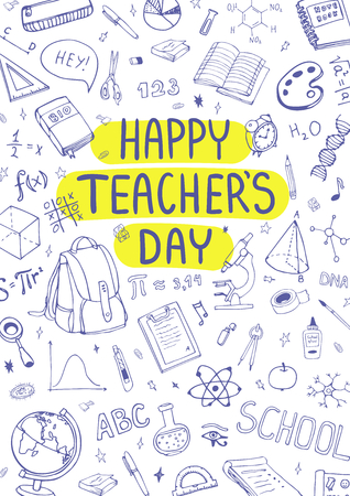 Happy Teachers Day. School supplies doodles. Sketchy background, composition. Hand Drawn Vector Illustration Çizim