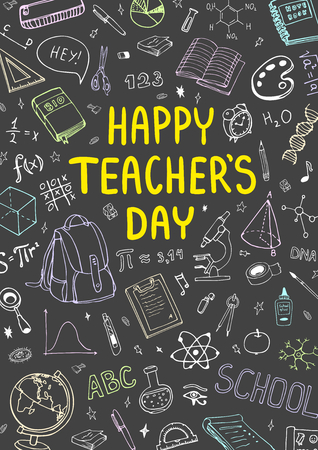 Poster for National Teachers Day with nice doddle design. Vertical vector illustration on a blackboard