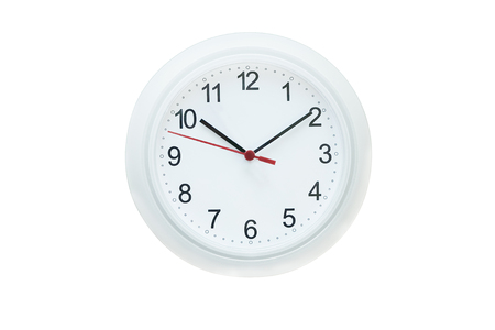 red  pointer: White wall clock with red second pointer
