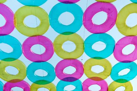 peer to peer: Colorful lifebuoy decorated at Maharaj Peer.