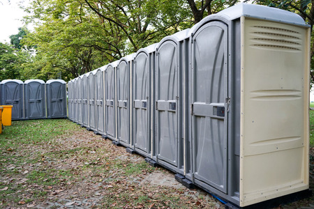 Tempolary toilets are provided for event in the park. Standard-Bild