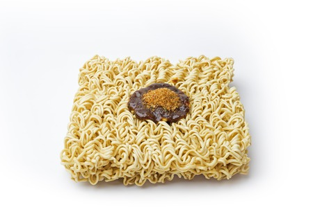 monosodium glutamate: Instance noodle has flavouring on top. Stock Photo