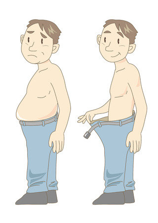 fatness: metabolic syndrome before and after (middle age) Illustration