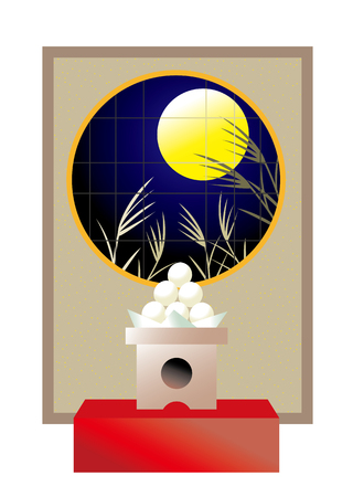 traditonal: Harvest moon. Its called Tsukimi or Otsukimi about Moon Viewing in japan. Illustration