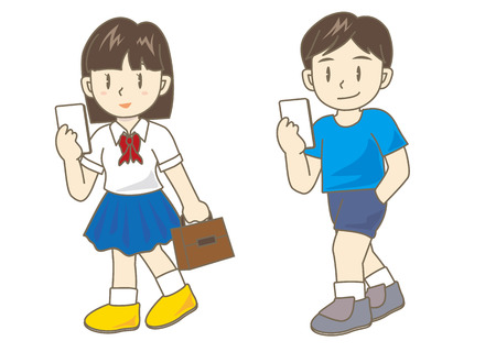 while: Texting While Walking (boy and girl vector set)