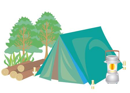 green lantern: Camping image set.vector parts of camping image. Illustration