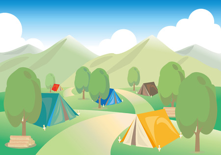 campsite: Campsite and tents. An image of summer vacation. Illustration
