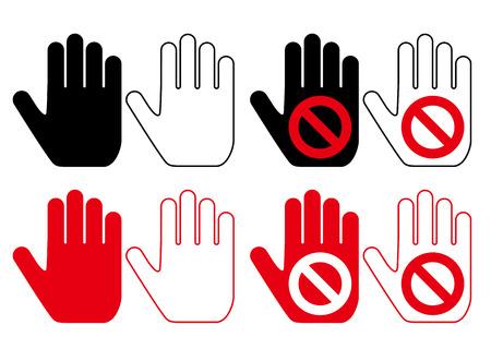 de hand pictogram  Vector set van 'verboden'