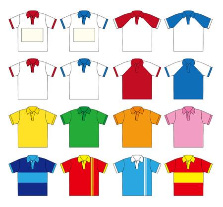 conjunto de la camisa de polo de vectores (Dieciséis tipo de color) y dos tipos de la parte superior izquierda puede liberar el diseño del espacio de nombres de la Plata.