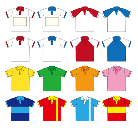 Polo shirt vector set (Sixteen type color) and Two types of the upper left you can free design in the Name Plate space.