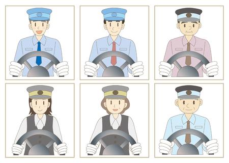 chauffeur: Bus driver vector illustration set