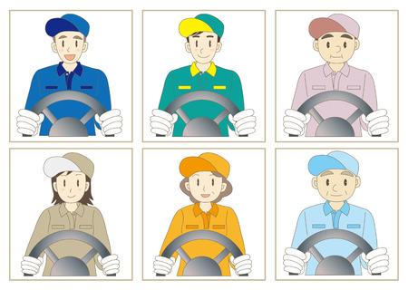 delivery driver: Delivery driver vector illustration set Illustration