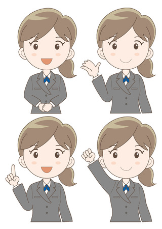 newcomer: business woman expression set (type-illustration set b Four variations vector)