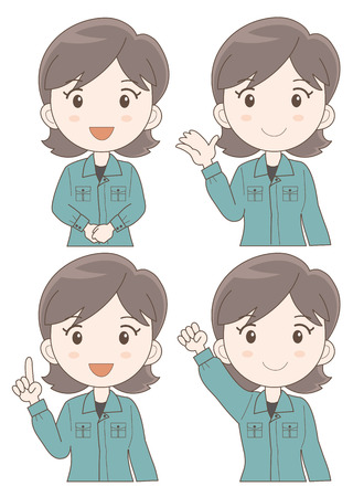 newcomer: Work staff woman expression set (type-illustration set b Four variations vector)