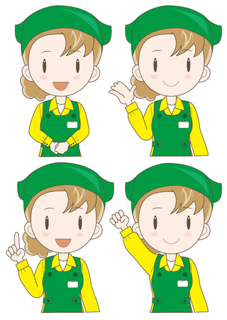 sales executive: supermarket assistant woman expression set (type-illustration set a Four variations vector) Illustration