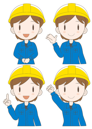 factory worker woman expression set (type-illustration set a Four variations vector)