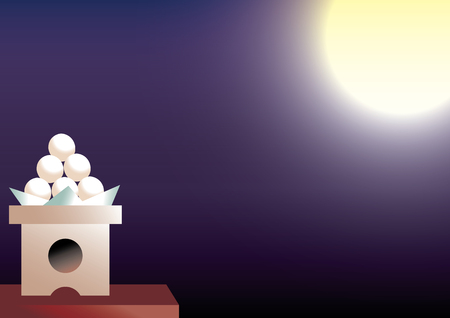 japanese dessert: Harvest moon. Its called Tsukimi or Otsukimi about Moon Viewing in japan. Illustration