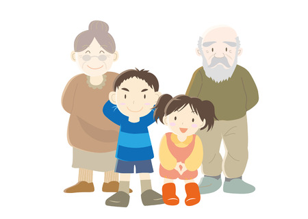 grandparent: Family (Grandparent and childrenType-b) Illustration