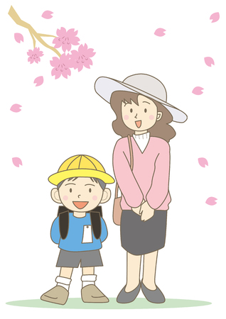 school entrance curumony-mothur and boy with flower