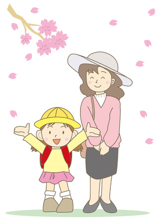 school entrance ceremony hooray-version (mother and girl with flower) Illustration