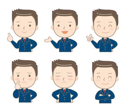 Hombre de negocios expresiones conjunto-A Ilustración de vector