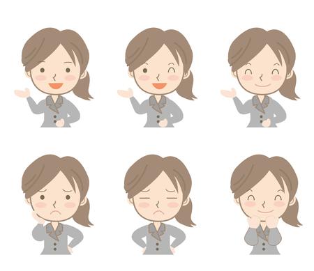 Mujer de negocios expresiones set-A