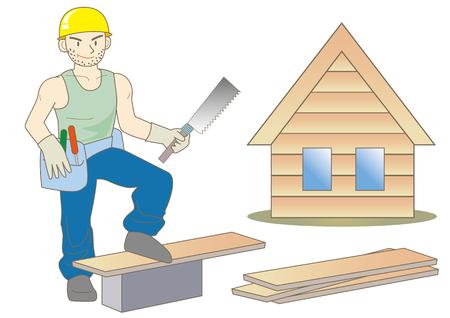 carpenter build a house Stock Illustratie