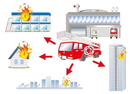 Fire truck and Some fire images Illustration
