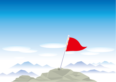 Snow mountains top with flag Illustration