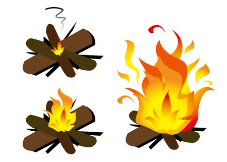 Burn firewood three types Vettoriali
