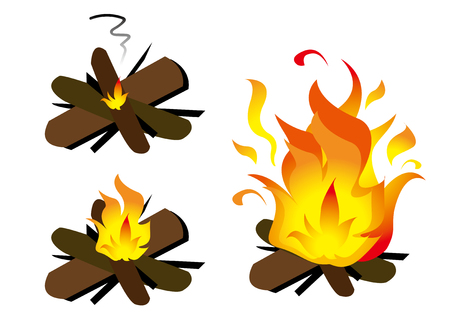 Burn firewood three types Illustration