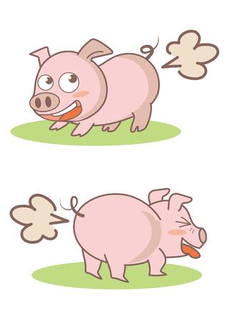 Pig Farting set illustration.