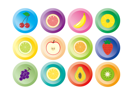 Fruit icon twelve colors Illustration