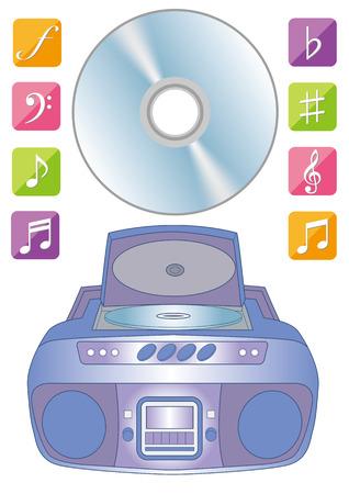 CD player and digital music illustration.