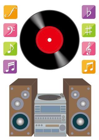 레코드 플레이어 및 아날로그 음악 그림입니다. 스톡 콘텐츠 - 82515183