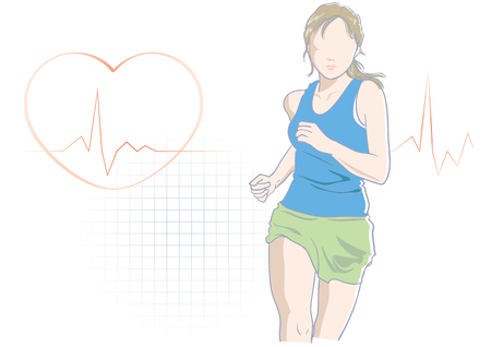 Jogging and running women with heart rate Illustration