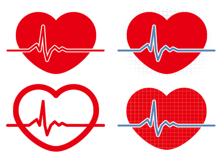 Heart rate icon 4-types Illustration