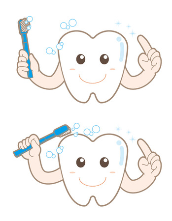 A character of clean the teeth illustration.
