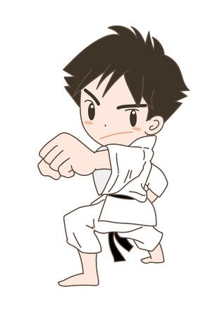 Karate pose boy Ilustração
