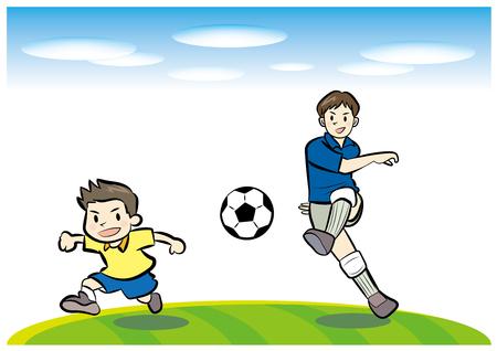再生サッカーの父と子  イラスト・ベクター素材