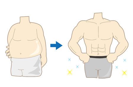 Men's Diet Success Example Illustration