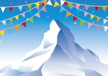 Everest and many flags. Vector illustration.